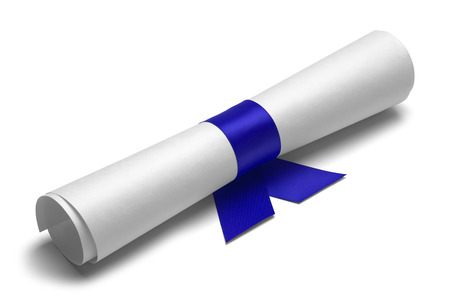 Diploma tied with blue ribbon on a white isolated background. Banque d'images