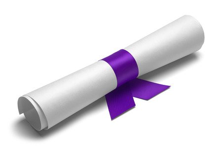 ged: Diploma tied with purple ribbon on a white isolated background.