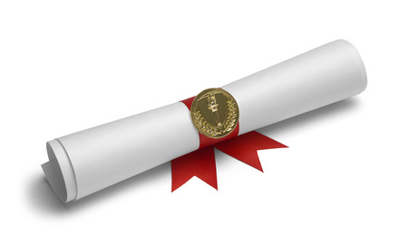 ged: Diploma with Torch Medal and Red Ribbon Isolated on White Background.