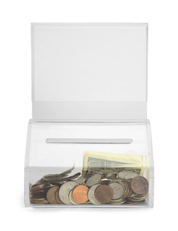 donating: Clear Plastic Donation Box With Money and Copy Space Isolated on White Background. Stock Photo