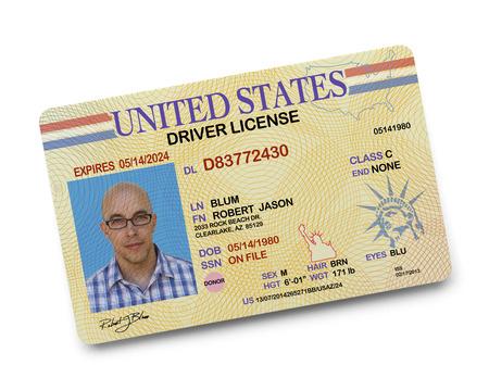 chofer: Licencia de Conducir de los Estados Unidos aislado en el fondo blanco.