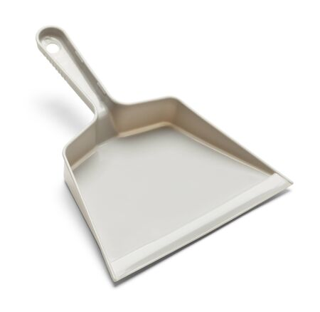 Empty Plastic Grey Dust Pan Isolated on White Background.