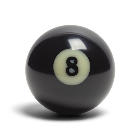 3d ball: Black Pool Eight Ball Isolated on White Background. Stock Photo