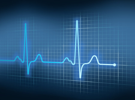 heart beat: Blue Electrocardiography Heart Beat Pulse on Graph. Stock Photo