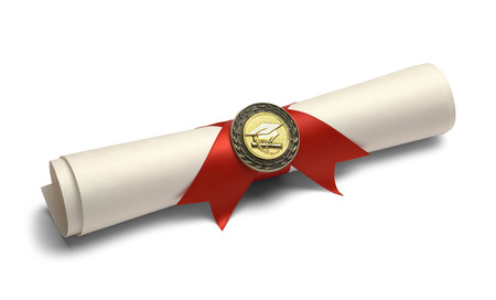 scroll: Degree Scroll with Red Ribbon and Diploma Medal Isolated on White Background. Stock Photo