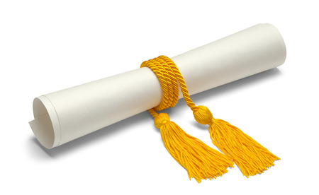 ged: Diploma with Gold Honor Cords Isolated on White Background.