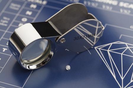 Blue Diamond Grading Grafiek met diamanten en Loupe.