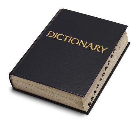 Large Blue English Dictionary Isolated on White Background.