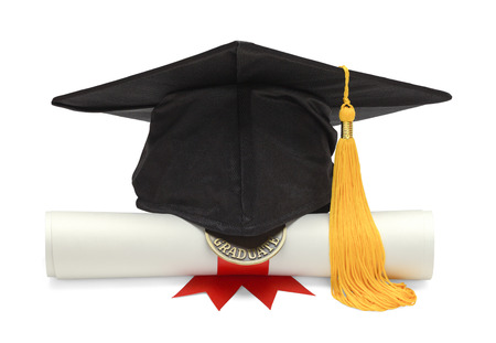 graduate hat: Graduation Hat and Diploma Front View Isolated on White Background. Stock Photo