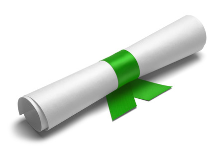 ged: Diploma tied with green ribbon on a white isolated background. Stock Photo