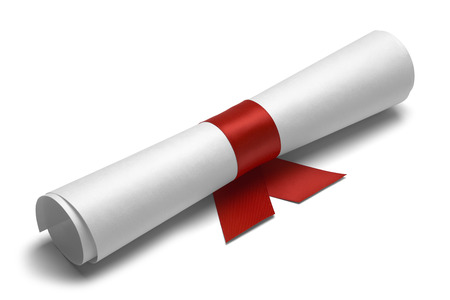 ged: Diploma tied with red ribbon on a white isolated background.