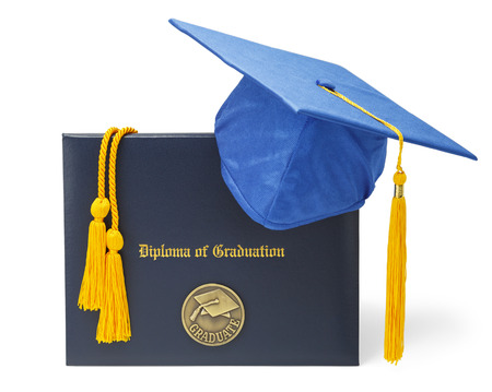 mortar cap: Diploma of Graduation with Blue Morter Board and Honor Cords Isolated on White Background. Stock Photo