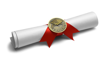 morter: Diploma with Graduate Medal and Red Ribbon Isolated on White Background. Stock Photo