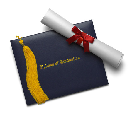 ged: Blue Diploma Cover with Rolled Degree and Gold Tassel Isolated on White Background.