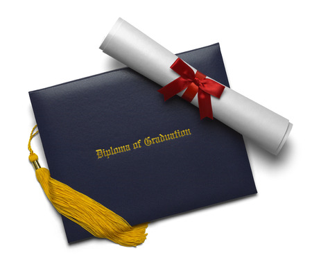 ged: Blue Diploma of Graduation Cover with Degree Scroll and Tassel Isolated on White Background.