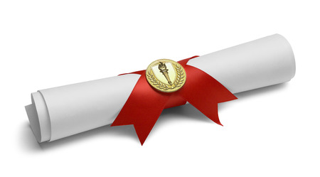 Diploma with Red Ribbon and Gold Torch Medal Isolated on White Background. Stock Photo