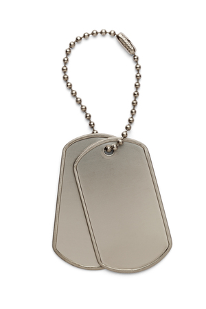 dog tag: Military Silver Dog Tags on a Small Key Chain Isolated on White Background.