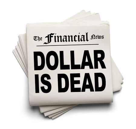 easing: Financial New Paper with Dollar Dead Headline Isolated on White Background.