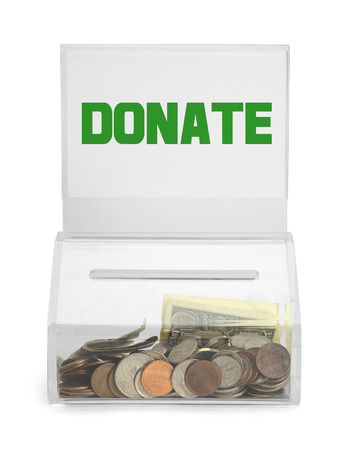 depositing: Clear Plastic Donation Box With Money Isolated on White Background.