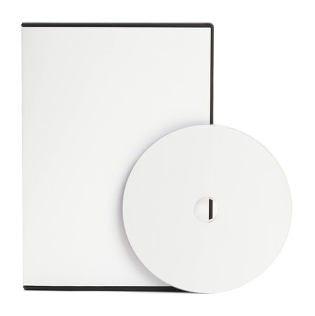 dvd case: Blank White DVD Case with Blank Disc Isolated on White Background.