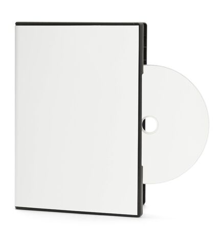 dvd case: Blank White DVD Case with Blank Disc Sticking Out Isolated on White Background.
