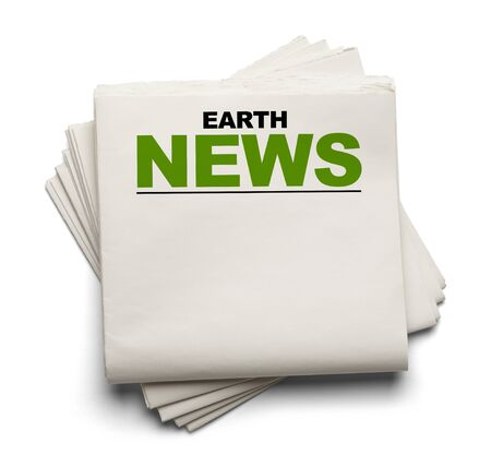 Blank Newspaper with Earth News at Top Isolated on White Background.
