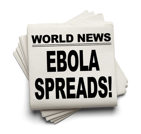 spreads: World News Paper Headline Ebola Spreads Isolated on White Background.