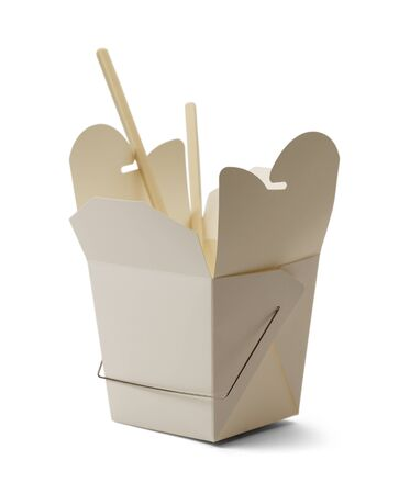 White Chinese Take Out Container and Chop Sticks Isolated on White Background.