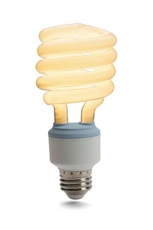 resourceful: Fluorescent Light Bulb On Isolated on White Background. Stock Photo