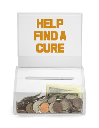 depositing: Help Find a Cure Donation Box Isolated on White Background. Stock Photo