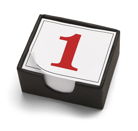 first day: Desk Calendar with Day One or Number 1 in Red Isolated on a White Background.