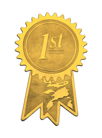Gold Foil 1st Place Seal Isolated on White Background. Imagens