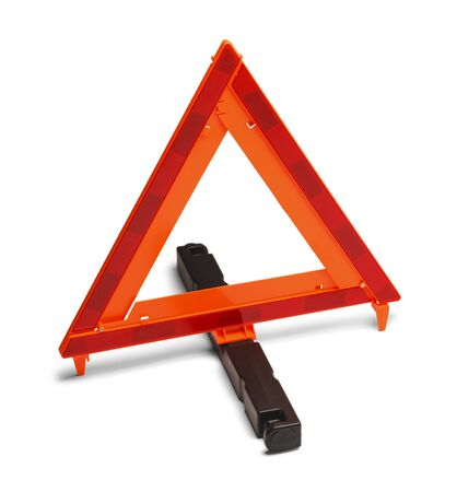 trip hazard sign: Triangle Reflector Hazzard Sign. Isolated on White Background.