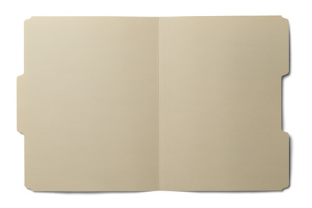 Manila folder open and empty isolated on white background.