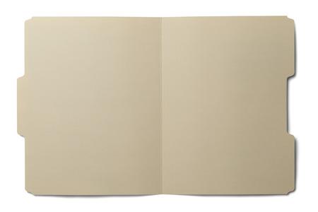 Manila folder open en leeg op een witte achtergrond. Stockfoto