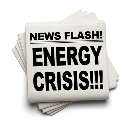 energy crisis: News Flash Energy Crisis News Paper Isolated on White Background.