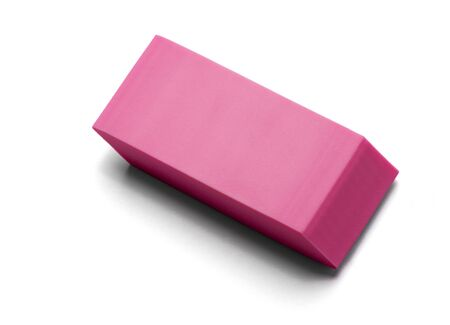 Pink eraser on white background, isolated.