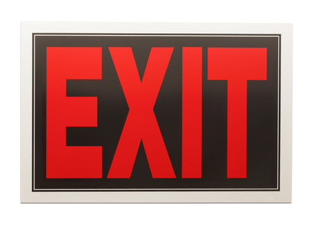 exit sign: Red and Black Exit Sign Isolated on a White Background.