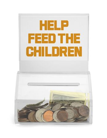 depositing: Help Feed the Children Donation Box Isolated on White Background. Stock Photo