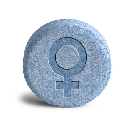 estrogen: Large Blue Pill With a Female Symbol Isolated on White Background.
