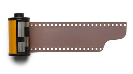 35mm: 35 mm Roll Film Negative Isolated on White Background.