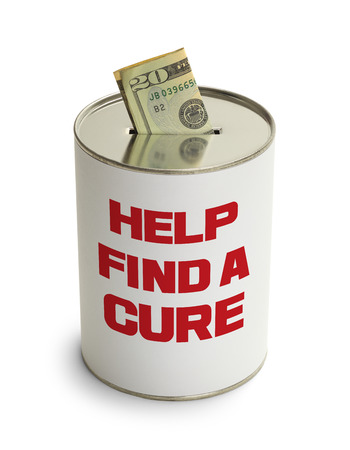 depositing: Find a Cure Donation Can Isolated on White Background.