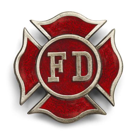 Red Cross Fire Fighter symbool op een witte achtergrond.