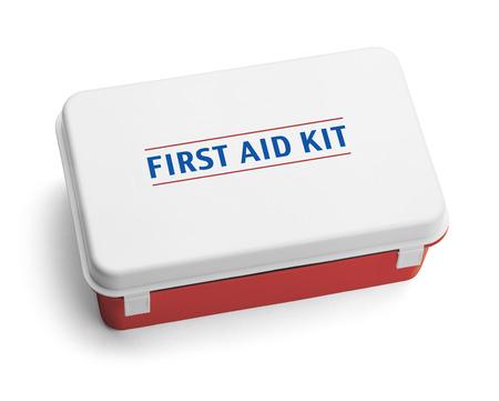 Plastic First Aid Kit Box das ist Rot, Weiß und Blau. Isoliert auf weißem Hintergrund. Standard-Bild - 38258274