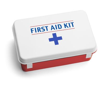 Kit de Primeros Auxilios Plastic Box eso es rojo, blanco y azul. Aislado en el fondo blanco. Foto de archivo