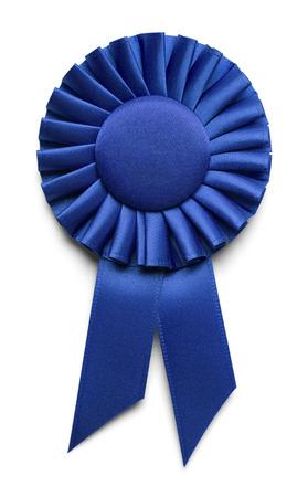 premios: Ribbon Award tela azul con copia espacio aislado en el fondo blanco.
