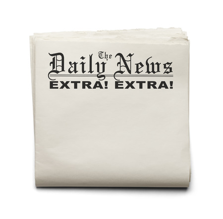 Folded Daily News with Extra! Extra! and Copy Space Isolated on a White Background.