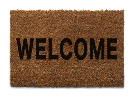 Door Mat From Top View Isolated on White Background. photo