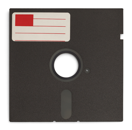 recordable media: Old Retro Computer Disc with Copy Space Label Isolated on White Background.
