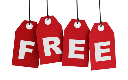 shopping list: Four Large Red Tags with the Word Free on it, Isolated on White Background.